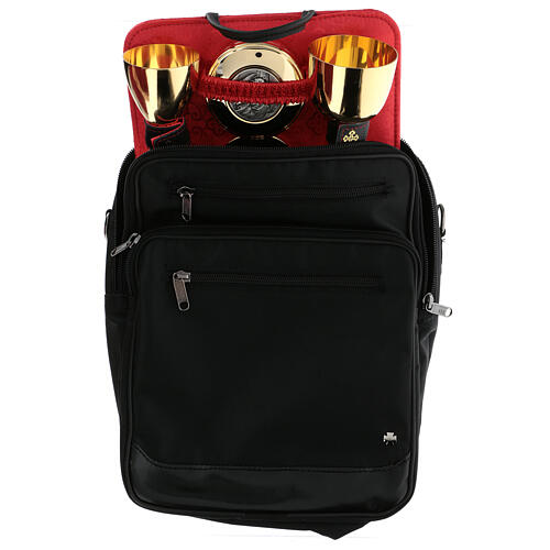 Celebration mass kit shoulder bag leather and silk 12 1/2x11x4 3/4 in 1