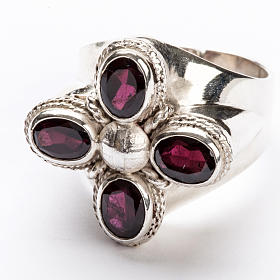 Anello vescovile argento 925 quattro pietre granato s4