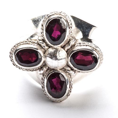 Anello vescovile argento 925 quattro pietre granato 2