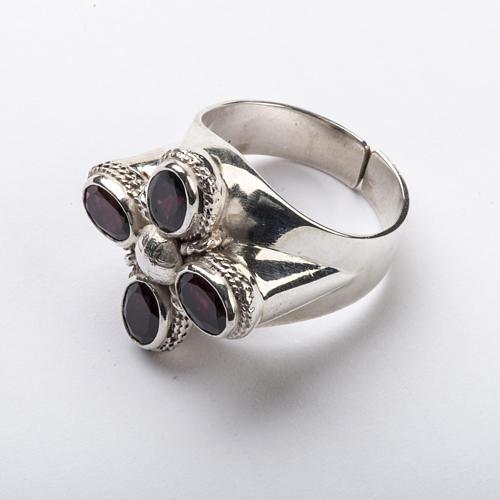 Anello vescovile argento 925 quattro pietre granato 3