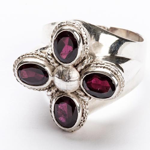 Anello vescovile argento 925 quattro pietre granato 4