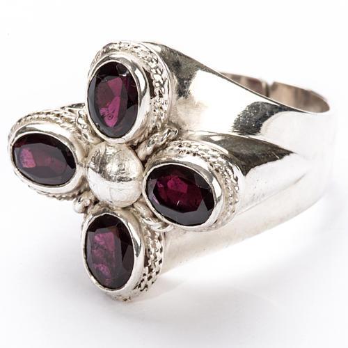 Anello vescovile argento 925 quattro pietre granato 5