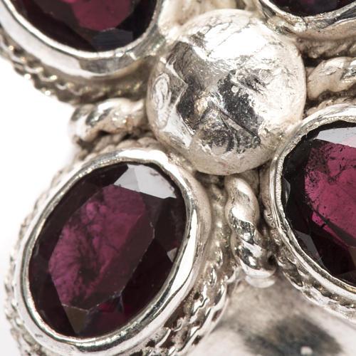 Anello vescovile argento 925 quattro pietre granato 6