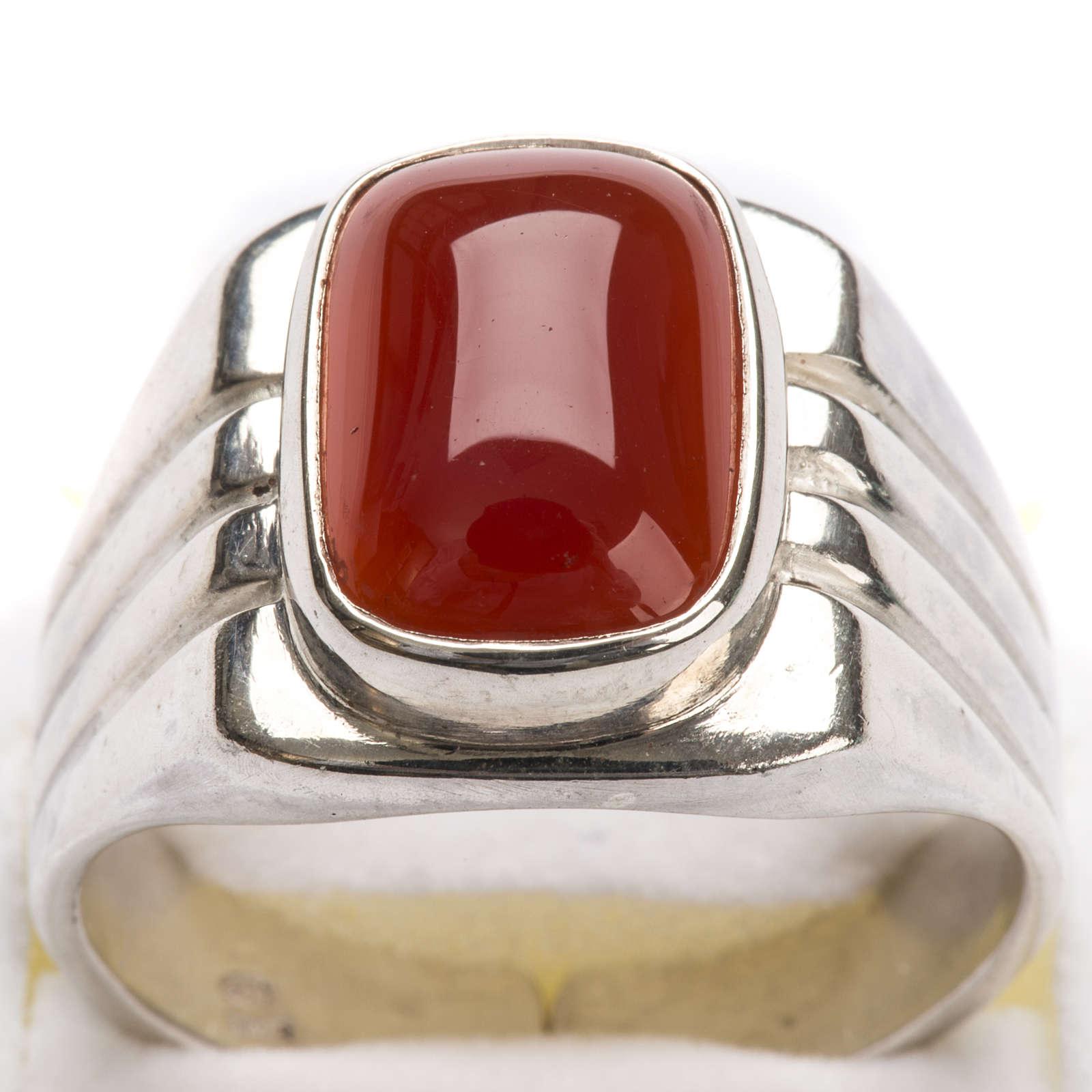 Anello vescovile argento 800 pietra rossa corniola 3