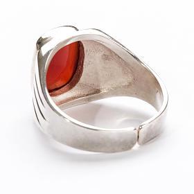 Anello vescovile argento 800 pietra rossa corniola s3