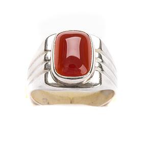 Anello vescovile argento 800 pietra rossa corniola s4