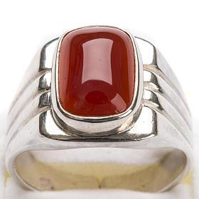 Anello vescovile argento 800 pietra rossa corniola s5