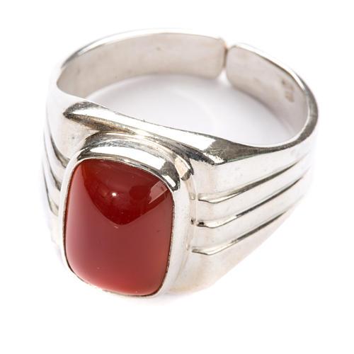 Anello vescovile argento 800 pietra rossa corniola 1