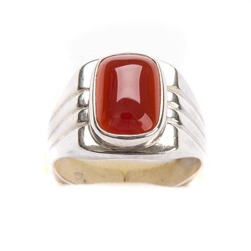 Anello vescovile argento 800 pietra rossa corniola 4