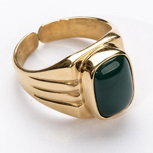 Bishop Ring in gold plated silver 800 with green agate stone 1