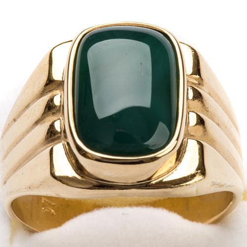 Bishop Ring in gold plated silver 800 with green agate stone 4