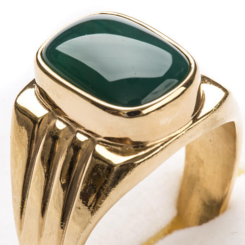Bishop Ring in gold plated silver 800 with green agate stone 5