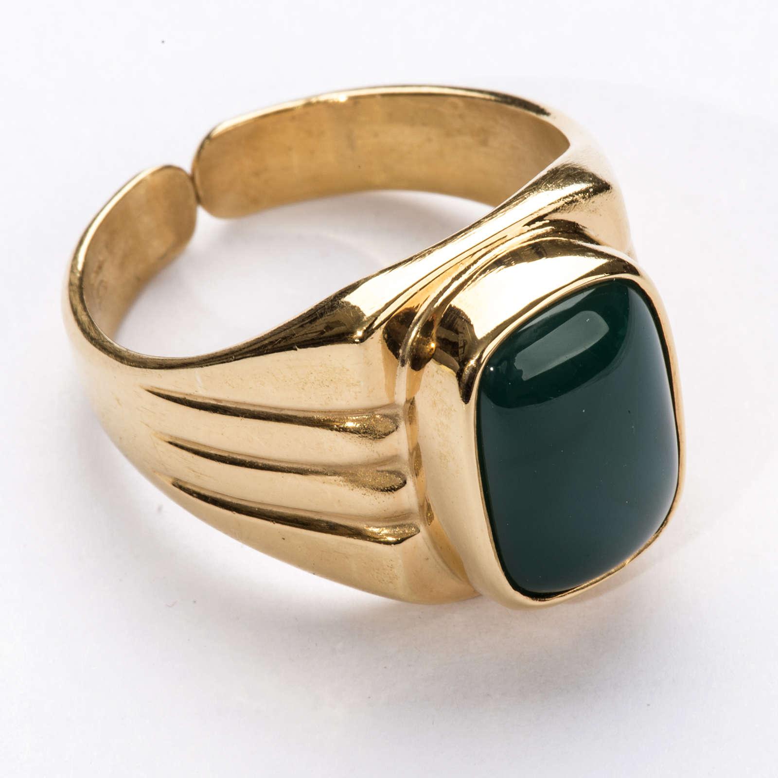 Anello vescovile argento 800 dorato agata verde 3