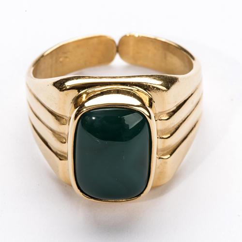 Anello vescovile argento 800 dorato agata verde 2