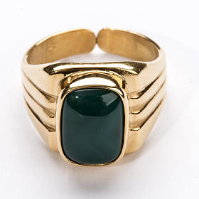 Bishop Ring in gold plated silver 800 with green agate stone s2