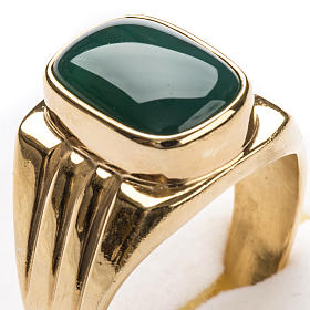 Bishop Ring in gold plated silver 800 with green agate stone s5