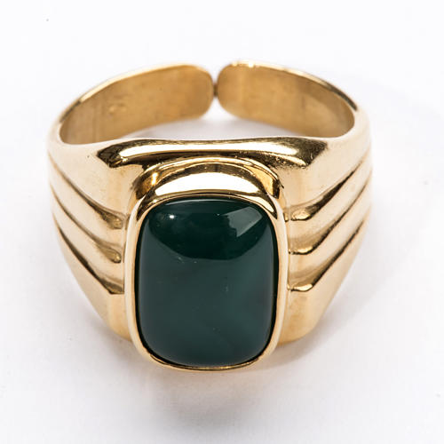 Bishop Ring in gold plated silver 800 with green agate stone 2