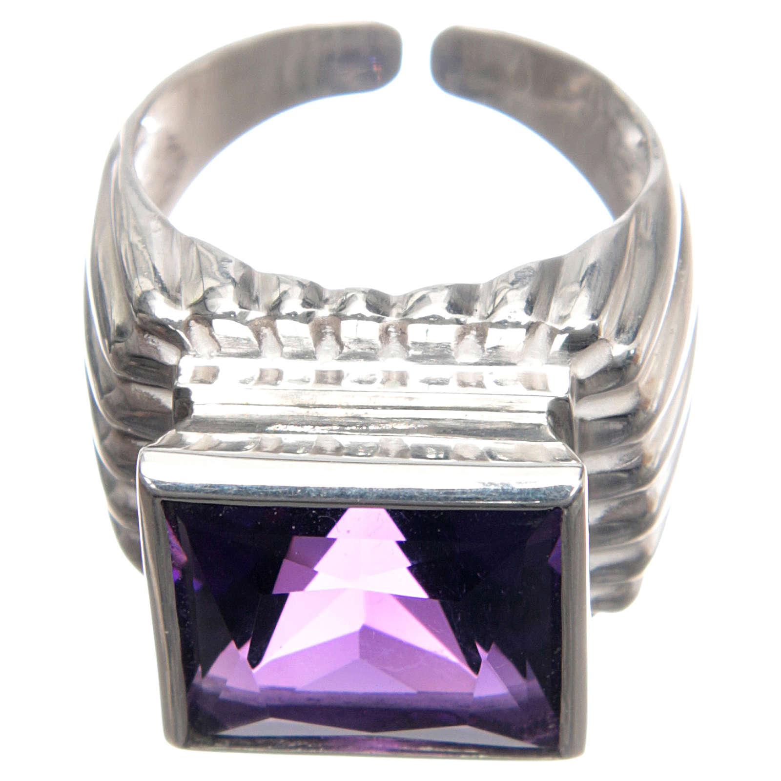 Anello vescovile argento 800 giada color ametista 3