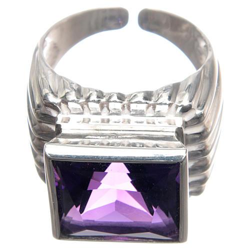 Anello vescovile argento 800 giada color ametista 2