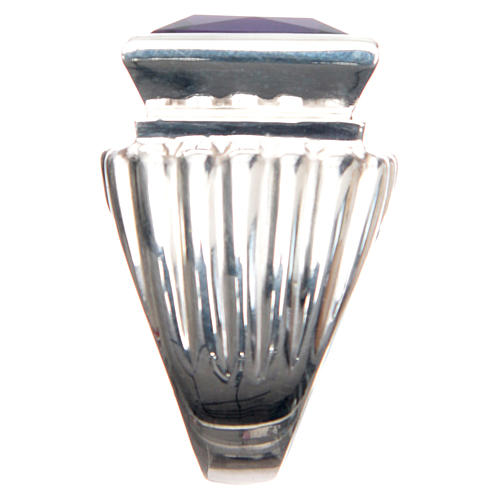 Anello vescovile argento 800 giada color ametista 4