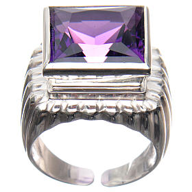 Bishop Ring in silver 800 with amethyst stone s1