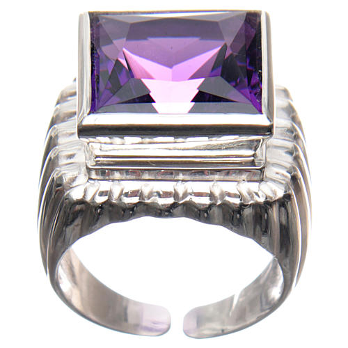 Bishop Ring in silver 800 with amethyst stone 1