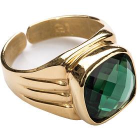 Anello vescovile argento 925 quarzo verde s1