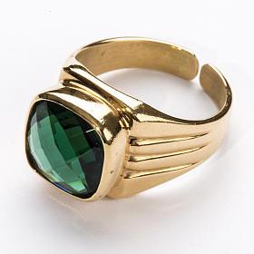Anello vescovile argento 925 quarzo verde s2