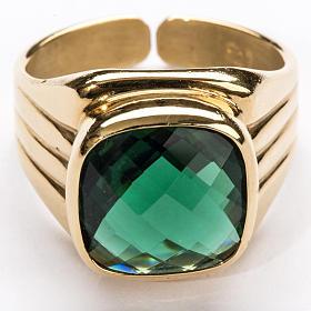 Anello vescovile argento 925 quarzo verde s3