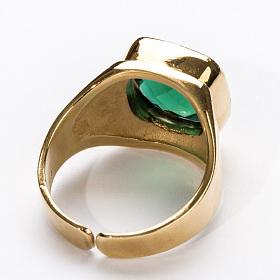 Anello vescovile argento 925 quarzo verde s4