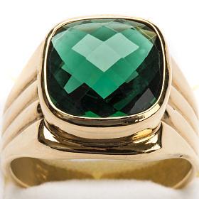 Anello vescovile argento 925 quarzo verde s6