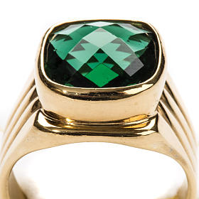 Anello vescovile argento 925 quarzo verde s7