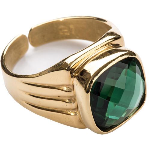 Anello vescovile argento 925 quarzo verde 1