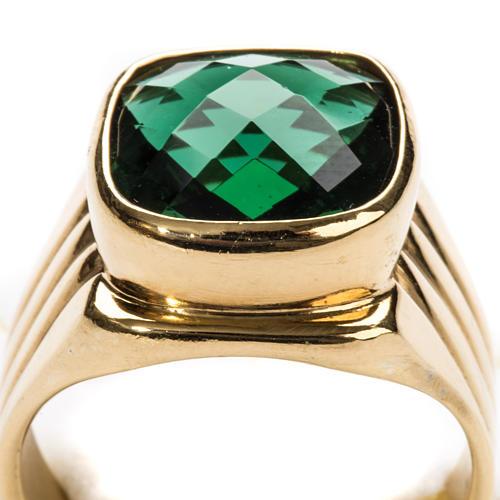 Anello vescovile argento 925 quarzo verde 7