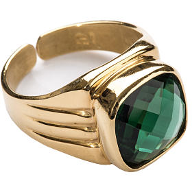 Bishop Ring in silver 925 with green quartz s1