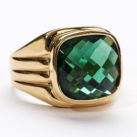 Bishop Ring in silver 925 with green quartz s5