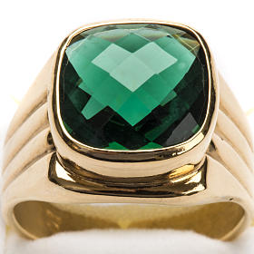 Bishop Ring in silver 925 with green quartz s6