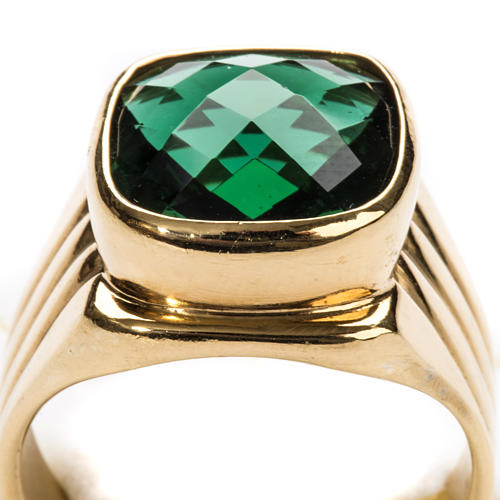 Bishop Ring in silver 925 with green quartz 7