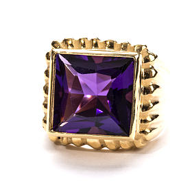 Bishop Ring in gold plated silver 925 with amethyst s3
