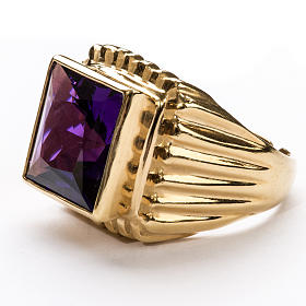 Bishop Ring in gold plated silver 925 with amethyst s4