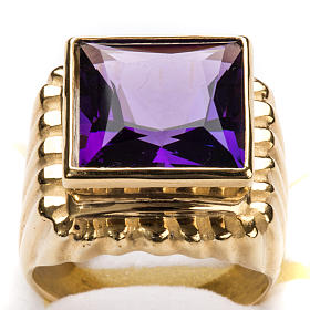 Bishop Ring in gold plated silver 925 with amethyst s6