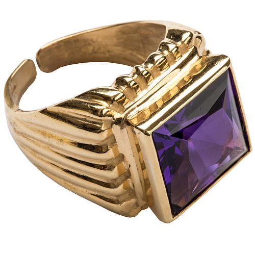 Bishop Ring in gold plated silver 925 with amethyst 1