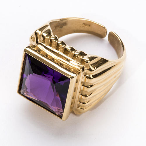 Bishop Ring in gold plated silver 925 with amethyst 2