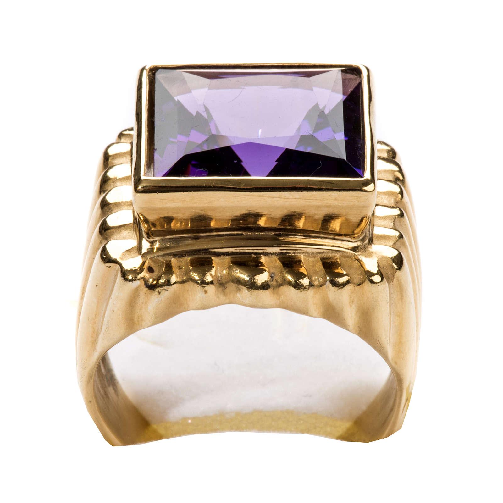 Anello vescovile argento 800 dorato giada color ametista 3