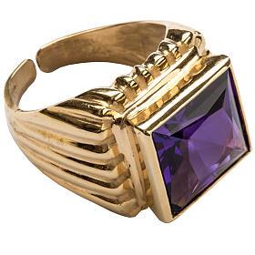 Anello vescovile argento 800 dorato giada color ametista s1