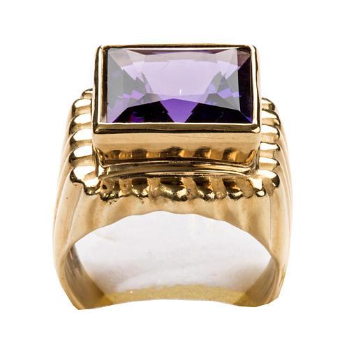Anello vescovile argento 800 dorato giada color ametista 7