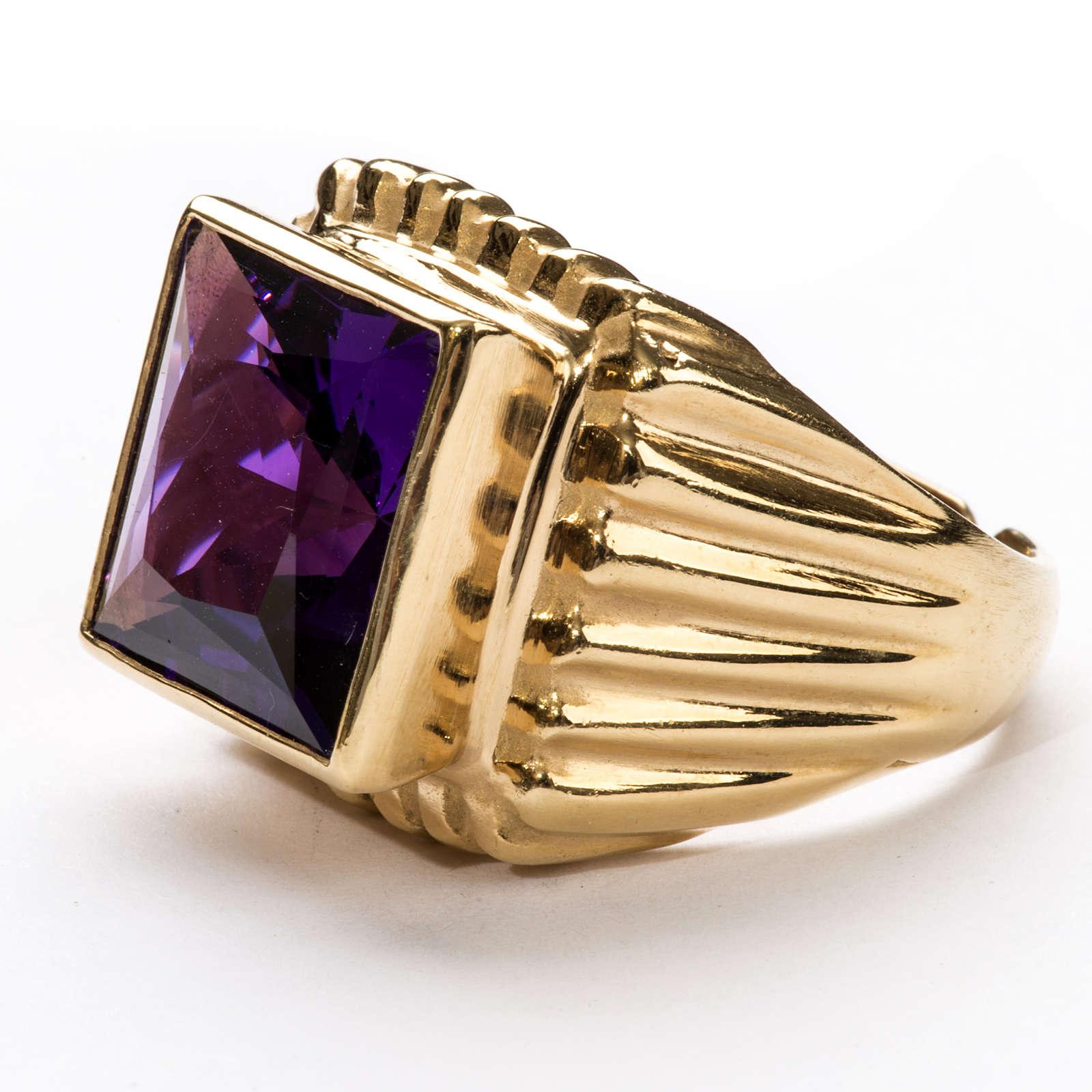 Anel episcopal prata 925 dourada jade cor de ametista 3
