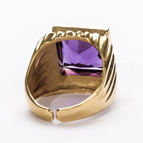 Anel episcopal prata 925 dourada jade cor de ametista 5