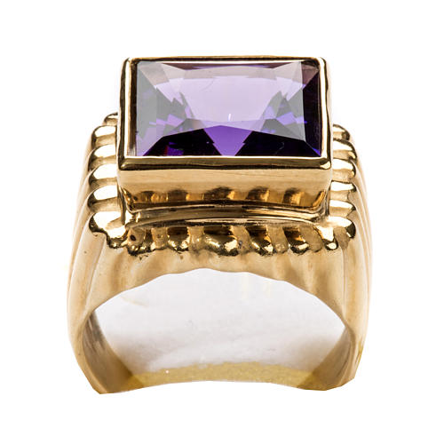 Bishop Ring in gold plated silver 925 with amethyst 7