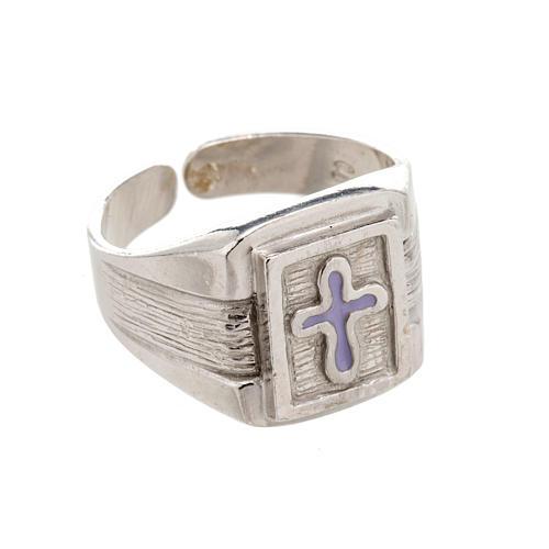 Anillo obispal de plata 925 con cruz de esmalte 1
